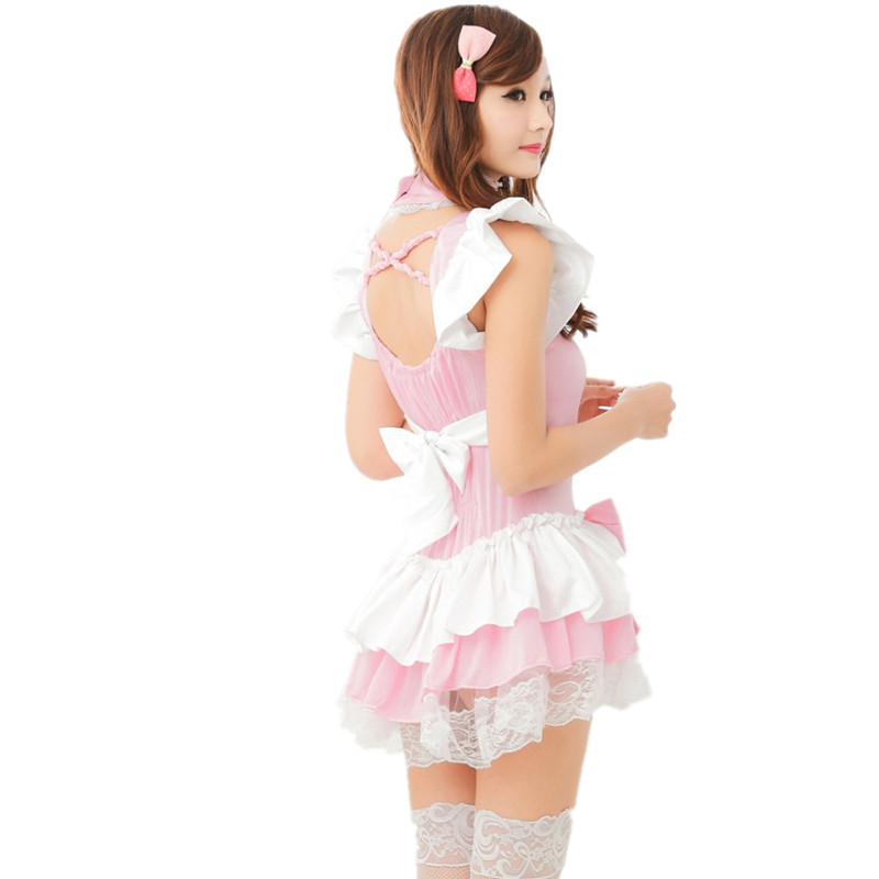 New 2020 Europe United States pink cute sexy lingeries maid cosplay women girls princess maid uniform temptation wholesale