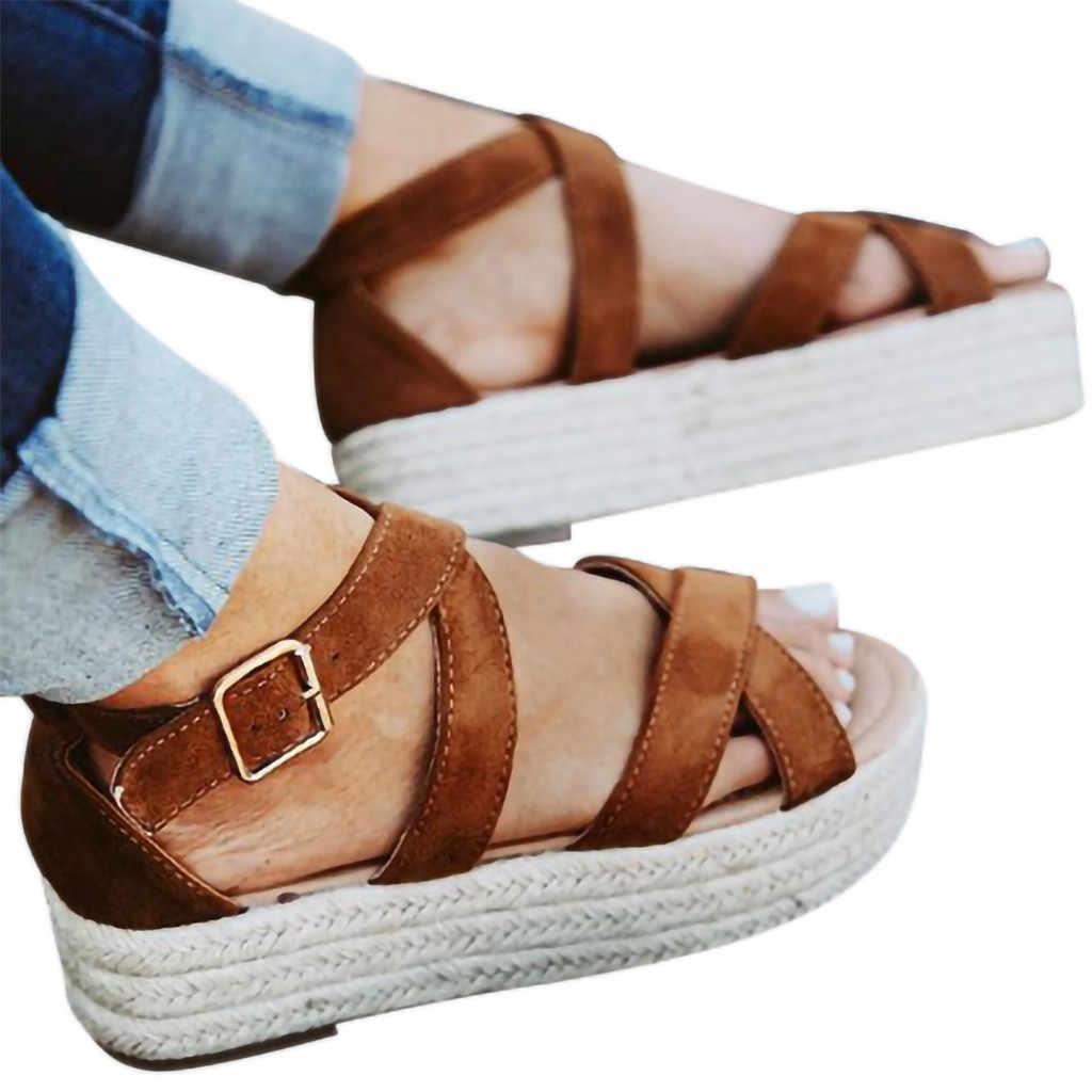 524361f787 ... 2019 Ladies Sandals Women Fashion Platform Wedge Pumps Shoes Straw  Thick Bottom Shoes Lady Girl Roman ...