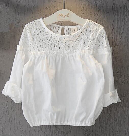 7db52ffbf 2018 الصيف الأطفال ملابس الفتيات البلوزات الصلبة فقاعة كم رقيقة الجوف طفلة  البلوزات للبنات الاطفال عارضة قمصان أعلى