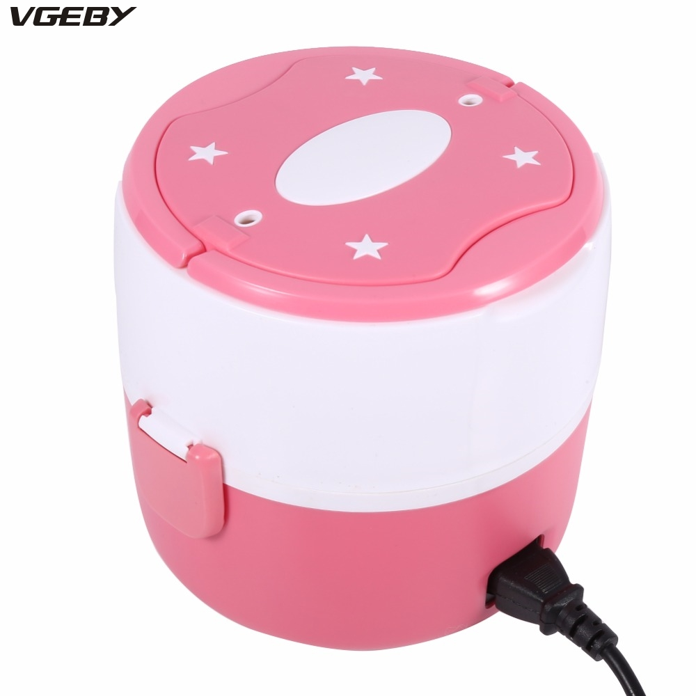 200W 220V Multifunctional Electric Heated Lunch Box Set 2 Layers Food Warmer Mini Rice Cooker Warmer for Students Dormitory cukyi 1l mini rice cooker 220v lunch box 2 double layers stainless steel multi function food warmer egg steamer cooking