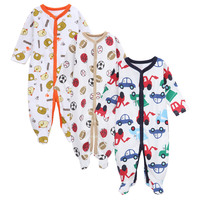 CN RUBR 3 PCS LOT Baby Boy Clothes Winter Cotton Baby Rompers Printed Newborn Clothes For