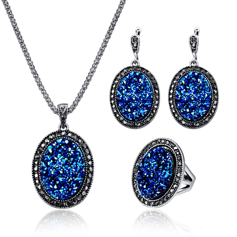 Fashion Creative Broken Resin Stone Oval Pendant Necklace Earring Ring Jewelry Sets Antique Silver Vintage Crystal Women Set 20%