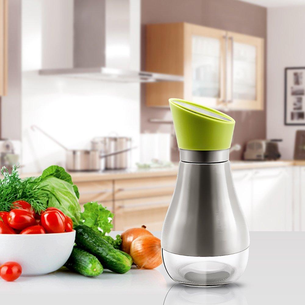 304 Stainless Seel Oil Bottle Large oil inlet Olive Oil Dispenser 13oz Vinager and Soy Sauce