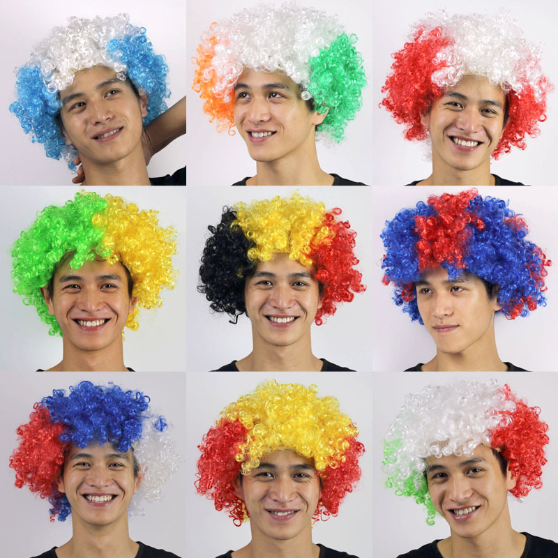 2018 football fans headwear Russia Gremany Brazil  France Belgium Spain carnival holiday party clown afros