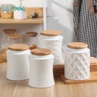 Japan Style kitchen Ceramic Airtight Container Bamboo Cover Sealing Pot Cereal Coffee Tea Milk Containing Seasoning Tank