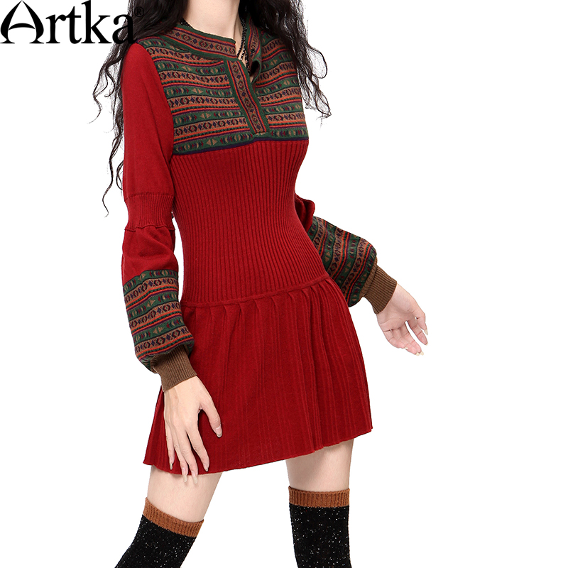 Artka Womens Autumn&Winter Casual Slim Warm Sweater Dress Vintage Lantern Sleeve All-match Knit One-piece Dress LB15838D