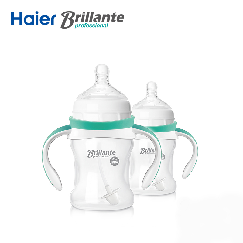 Haier Brillante 2PCS Handle PP Straw Baby Milk Feeding Bottle for Infant Newborn 6m+ Baby 150ml/5oz BPA Free Mamadeiras