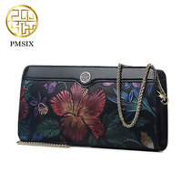 Pmsix 2017 Chinese Style Genuine Cowhide Leather Envelope Clutch Dinner Retro Embossed Shoulder Hand Bag Female