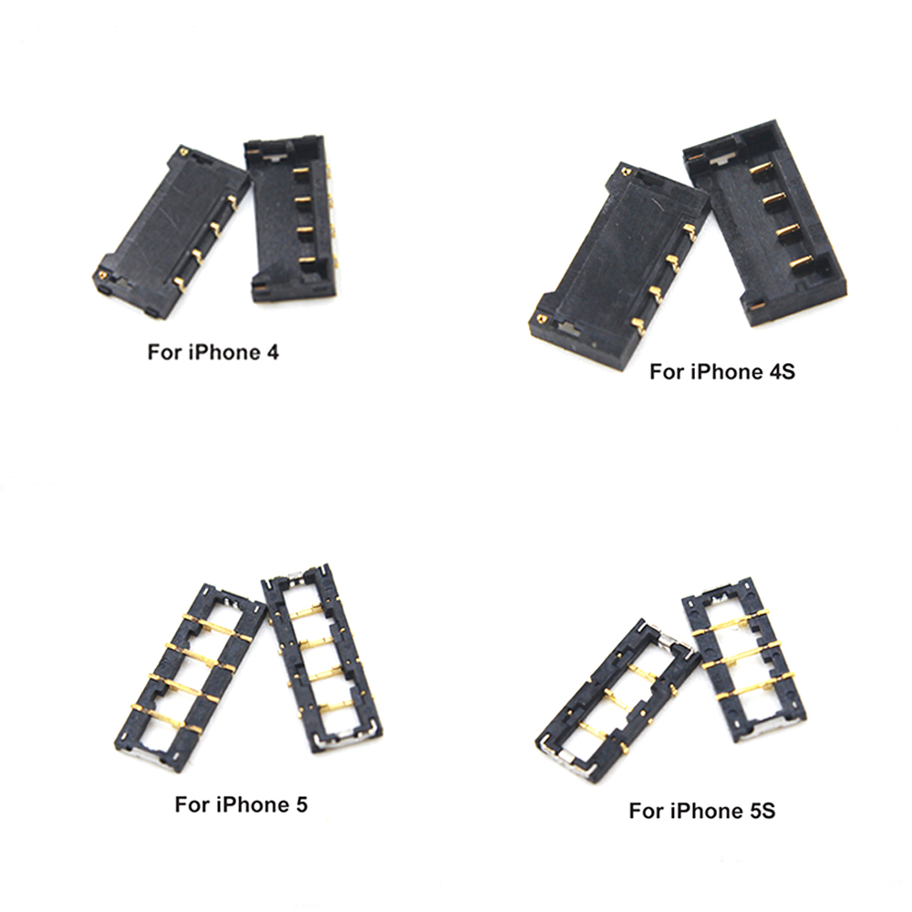 10pcs/lot 100% Genuine New For IPhone 4S 5S 5C 6 6 Plus 4G 7 7 Plus FPC Battery Connector Plug Clip On Motherboard