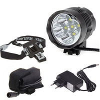 5x XM L T6 4500 Lumens LED Headlamp 3 modes Bicycle Light Headlight + 8.4V 6400mAh Battery Pack + Charger