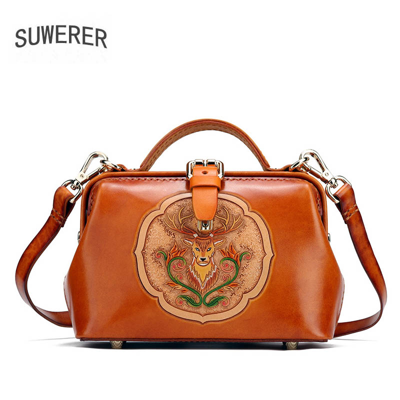 SUWERER Women Genuine Leather bag Handmade Carved top cowhide luxury fashion tote women leather bag designer women famous brandSUWERER Women Genuine Leather bag Handmade Carved top cowhide luxury fashion tote women leather bag designer women famous brand