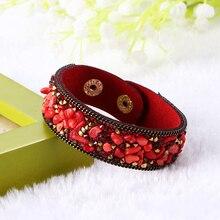 New Fashion Leather Warp Bracelet Bangle Handmade Clasp Gravel Stone Crystal Wristband Bracelets