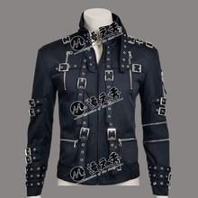 Редкий МД Майкл Джексон панк рок стиль BAD Tour черный хлопок и кожа заклепки тонкий молния куртка верхняя одежда