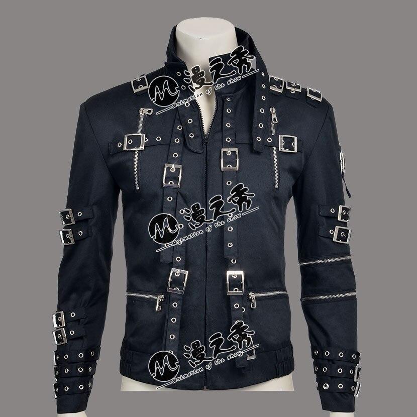 Rare MJ Michael Jackson Punk Style MAUVAIS Tour Noir En Coton et Cuir Rivet Mince Fermeture Éclair Veste Outwear