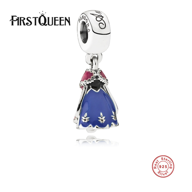 FirstQueen Authentic 925 Sterling Silver PendantsAnna's Dress Charm Fit FirstQueen Bracelet & Necklace, DIY Fine Jewelry