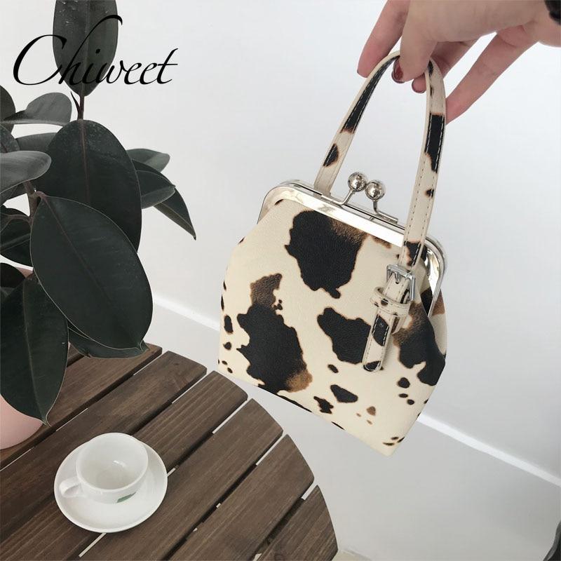 Designer Handbag Clip-Bag Cow-Pattern Tote-Bags Small Crossbody Women Shoulder Ladies