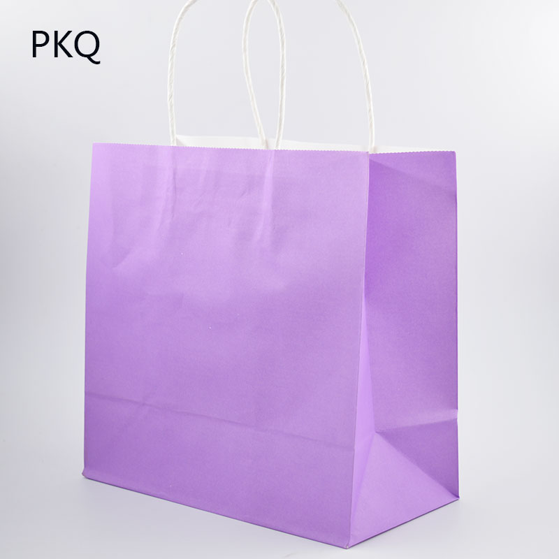 Solid Color Paper Bag With Handle 22x11x21 5cm Diy Multifunction Festival Gift Wedding Party Kraft Bags Christmas Bo
