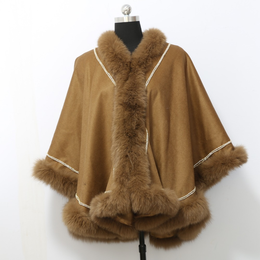 Free shipping factory price  real fox fur trim  long style cashmere shawl with diamonds for women