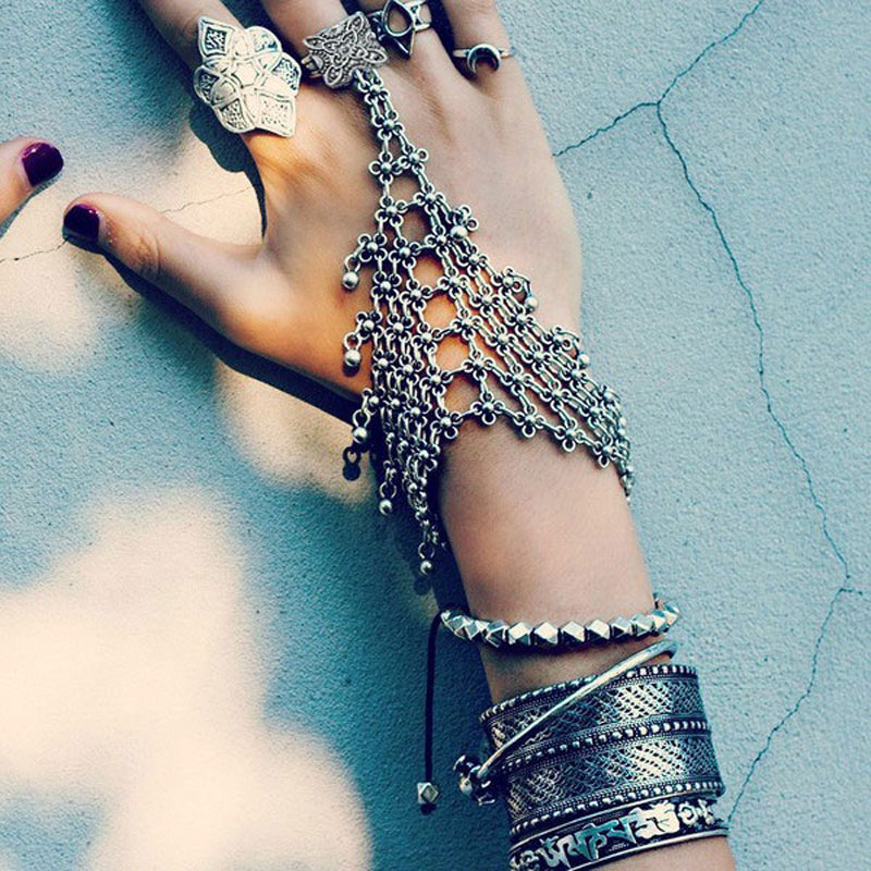 2016 Punk Rock Thick Turkish Silver Bohemian Antalya Power Bracelet Gypsy Beachy Chic Coachella Silver Personality Ethnic Tribal