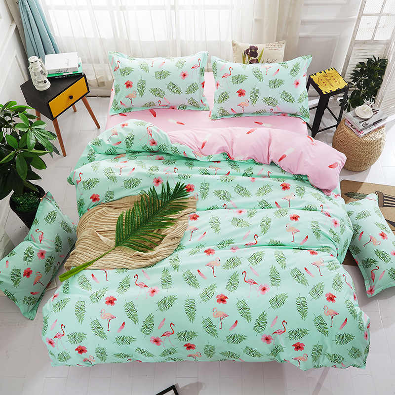 Soft Cotton Bedding Set Kids Bed Linens Sheet Quilt Comforter Pillow Case Single Twin Queen King Size Duvet Cover 24