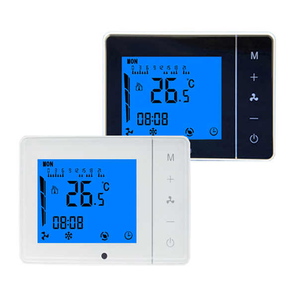 LCD Weekly Programmable Central Air Conditioner Thermostat Fan Coil Units AC/DC24V HVAC Temperature Controller Valve 0-10V