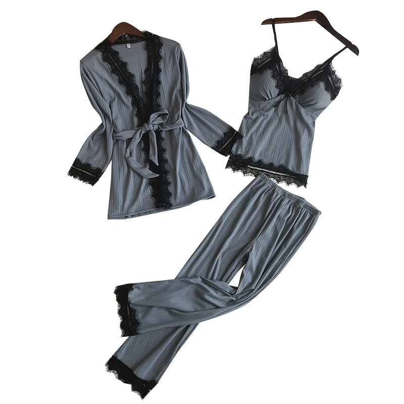 Sping Autumn Long Sleeve Home Wear Cami+Pants+Robe Pajamas Set Sexy Lace Trim Female 3PCS Sleepwear Cotton Nightwear Suit M-XL