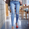 Trousers for women 2016 Blue Wash Skinny Hole Jeans Women's Plus Size Thin Elastic Slim Ripped Jeans For Women Pencil Pant 26-31