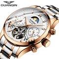 Мужские часы GUANQIN  автоматические  механические  водонепроницаемые  золотые