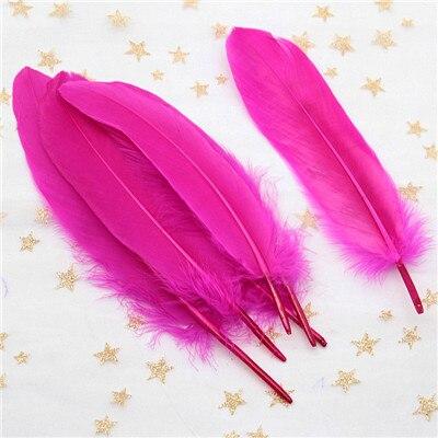 Натуральные лебединые перья 14-20 см, многоцветные гусиные перья, шлейф для рукоделия, свадебных украшений, рукоделия, украшения для дома, 50 шт - Цвет: rose red 50pcs