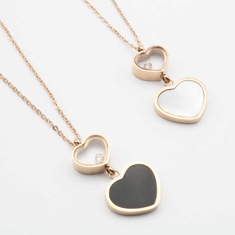 Double Heart Pendant Stainless Steel Woman Necklace Golden Color Chain White Black Shell for Lady Gift Fashion Jewelry Necklaces