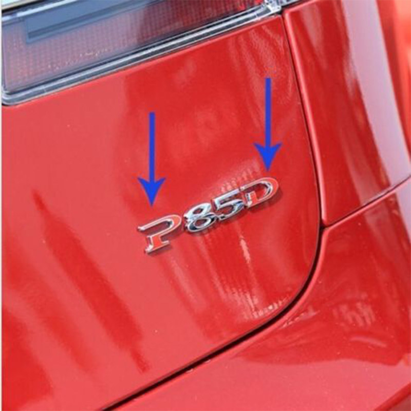 1 Pack Tesla Red Word P&D Custom Emblem Sticker Badge for Tesla Model S P85D P70D 2012 2016