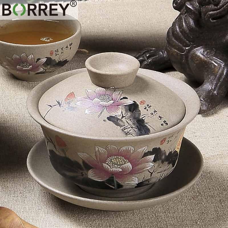 BORREY Chinese Pottery Gaiwan Tea Set Hand Painted Ceramic Gaiwan Porcelain Tea Cups And Saucers Kung Fu Tea Set Retro Cup