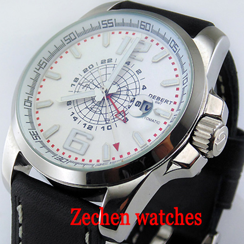 44mm Debert Fashion Business Watch Men's Automatic Date Mechanical Watch Waterproof Calendar Automatic Mechanical Watch цена и фото