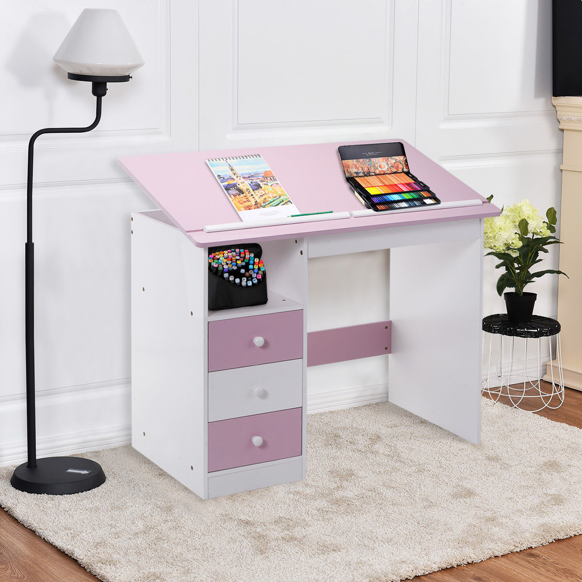 Giantex Adjustable Top Drawing Desk Modern Drafting Table Pink Workstation Furniture with Drawers HW52647 стоимость