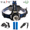 LED CREE XML T6 Headlight 3000LM Headlamp Rechargeable Head Light Zoom Lamp +Charger+Car +Charger+2x18650 Battery