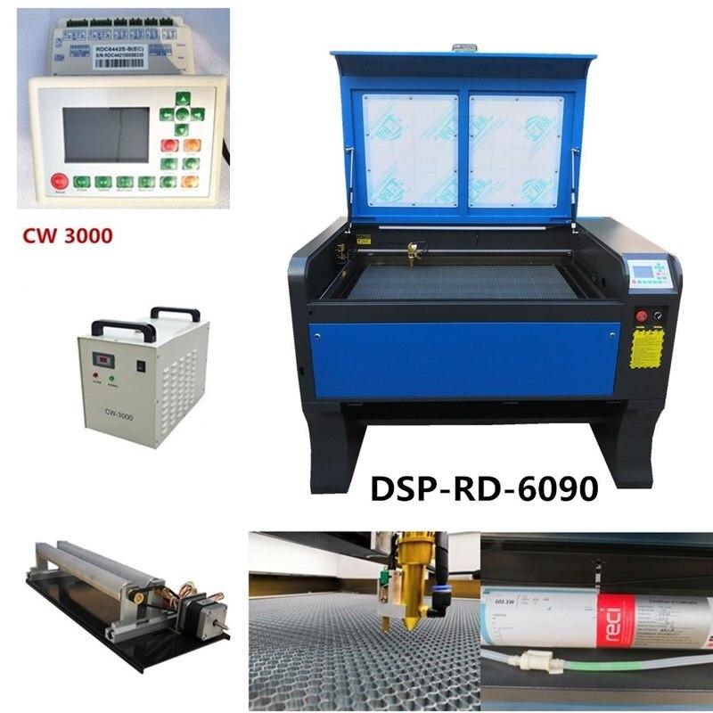 Livraison gratuite reci 100 W 6090 Co2 USB Autofocus Laser Machine de découpe avec système DSP Laser Cutter graveur refroidisseur 900x600mm