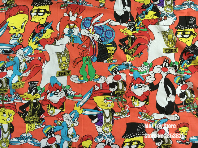Us 9 98 Cartoon Daffy Duck Rock Looney Tunes Bugs Bunny Lycra Baumwolle Stoff Zum Nahen Patchwork Diy Baby Junge Kind Kleidung 50 165 Cm In Cartoon