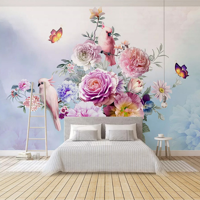 Photo Wallpaper 3D Hand-painted Retro Rose Parrot Murals Living Room Bedroom Romantic Home Decor Wall Painting Papel De Parede