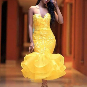 Custom Made Yellow Party Dress Off Shoulder Organza Prom Gowns Ankle Length Backless robe de soiree Appliques Forma Dresses