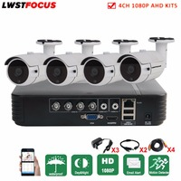 LWSTFOCUS Security Camera System 4ch CCTV System DVR DIY Kit 4x1080P Security Camera 2 0mp Outdoor