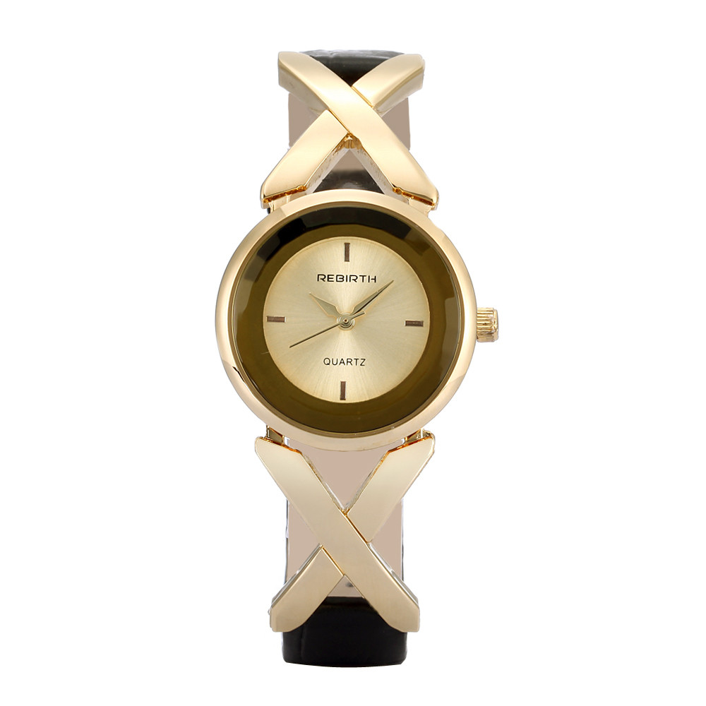 2016 REBIRTH Brand Quartz Watches Women Clock Gold Leather Bracelet Casual Fashion Ladies Watch Gift reloj mujer montre femme 2016 julius brand quartz watches women clock gold square leather bracelet casual fashion watch ladies reloj mujer montre femme