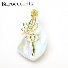 02a29b56b0cf BaroqueOnly gran tamaño Irregular blanco perla diapositivas colgante de  forma diferente de agua dulce hecho de perlas de Plata d.