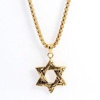 Titane Acier Unisexe Collier Bijoux Hexagram Pendentif Étoile De David Satanique Étoiles Pentacle Étoiles Noir Bulter Cosplay Collier