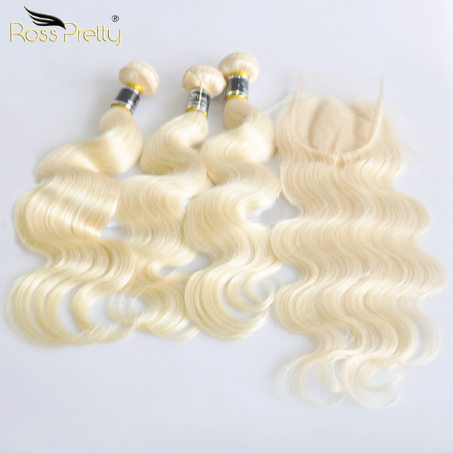 Ross Pretty Remy Blonde Hair Bundles With Closure Peruvian Body Wave Hair Weave 3 Bundles With Lace Closure Color 613