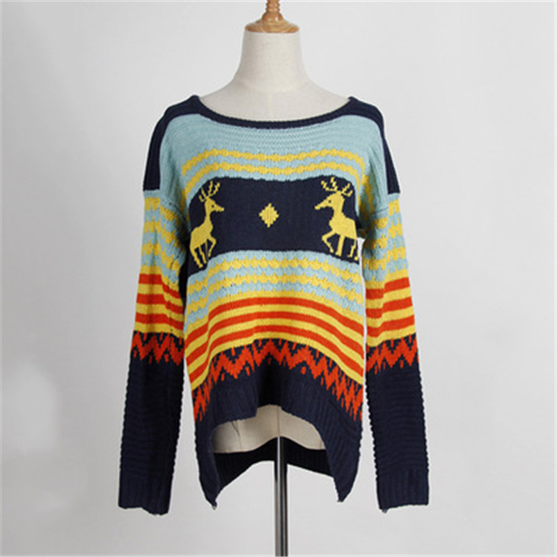 2018 Christmas Women Sweater Long Sleeve Korean version Deer Knitted Pullover Sweater Autumn and Winter Vintage