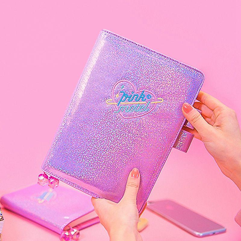 2019 de cuero brillante cuaderno de diario/Diario planificador/del organizador del programa 207 P Japón lindo papelería de moda A6 A5 la escuela suministros