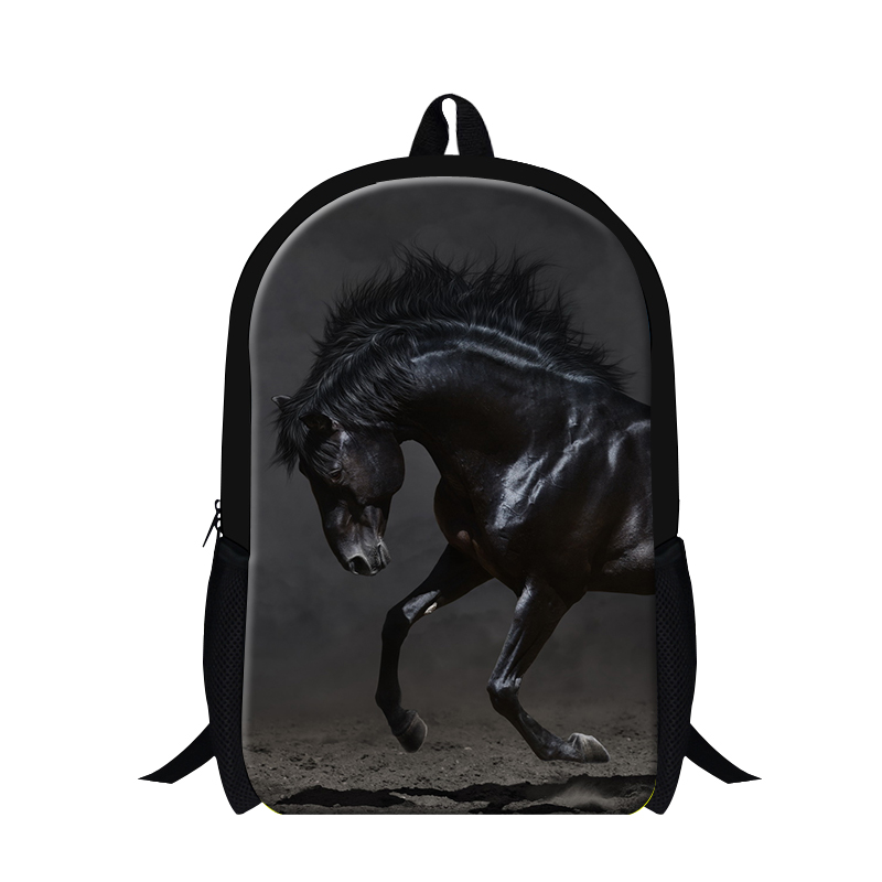 Cool Black Horse Printing backpack for Teenager boys ultralight backpacking School Bags for Children animal Back Pack Mochilas