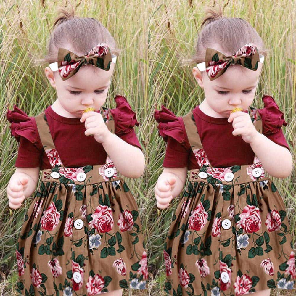 MUQGEW أحدث 3 قطعة طفل رضيع الفتيات الاطفال وزرة تنورة عقال رومبير الملابس وتتسابق القوس عقال kiz bebic giyim #06