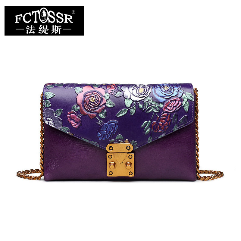 Cow Genuine Leather Women Shoulder Bag  Day Clutch Handmade Flap Purse Hand Painted Women Messenger Crossbody Bags Four Colors women floral leather shoulder bag new 2017 girls clutch shoulder bags women satchel handbag women bolsa messenger bag