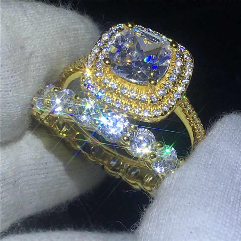 2018, набор колец для влюбленных, AAAAA, циркон, cz, желтое золото, заполнено 925 серебром, для мужчин, т, обручальное кольцо, кольца для мужчин и женщин, ювелирные изделия